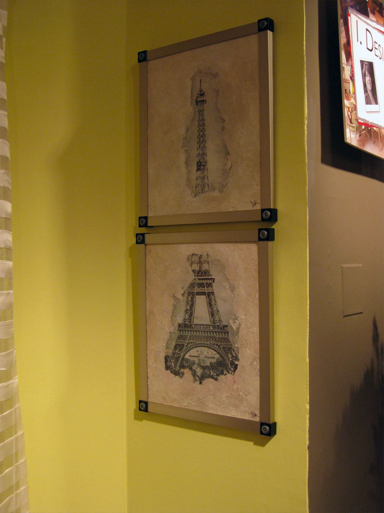 Two-piece Eiffel Tower composition, photo and plaster on canvas with silver glaze.