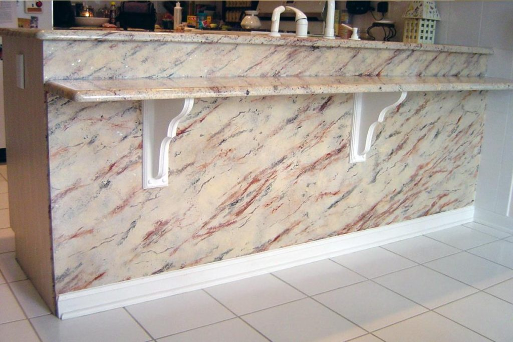 Faux granite painted to replicate actual granite countertops.