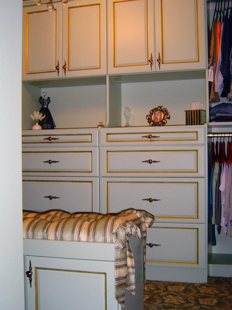 Gold edge detail painted on closet system furniture.