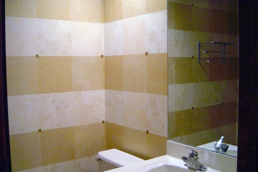 Squares in 4 different shades of gold, with a metallic gold glaze overall, and gold-leaf accents.