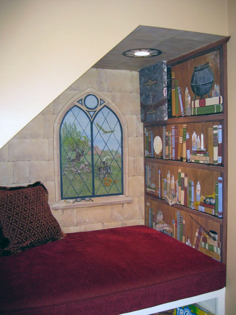 Harry Potter themed stairway alcove mural.