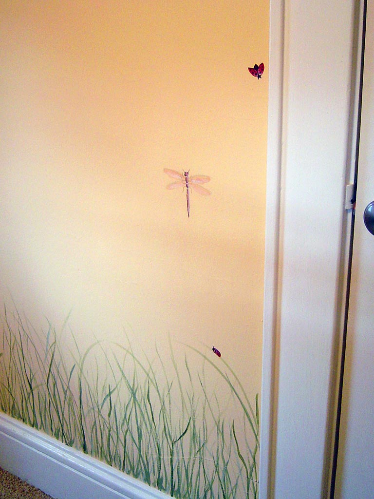 Insects and grass painted in nursery.