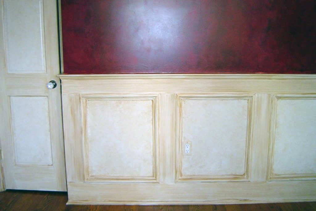 "All wainscot, doors, and trim in this Dining room ""antiqued"" with a sepia glaze."