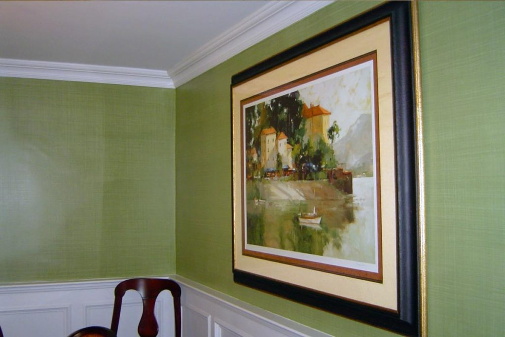 Dining Room painted with a green linen-weave glaze.