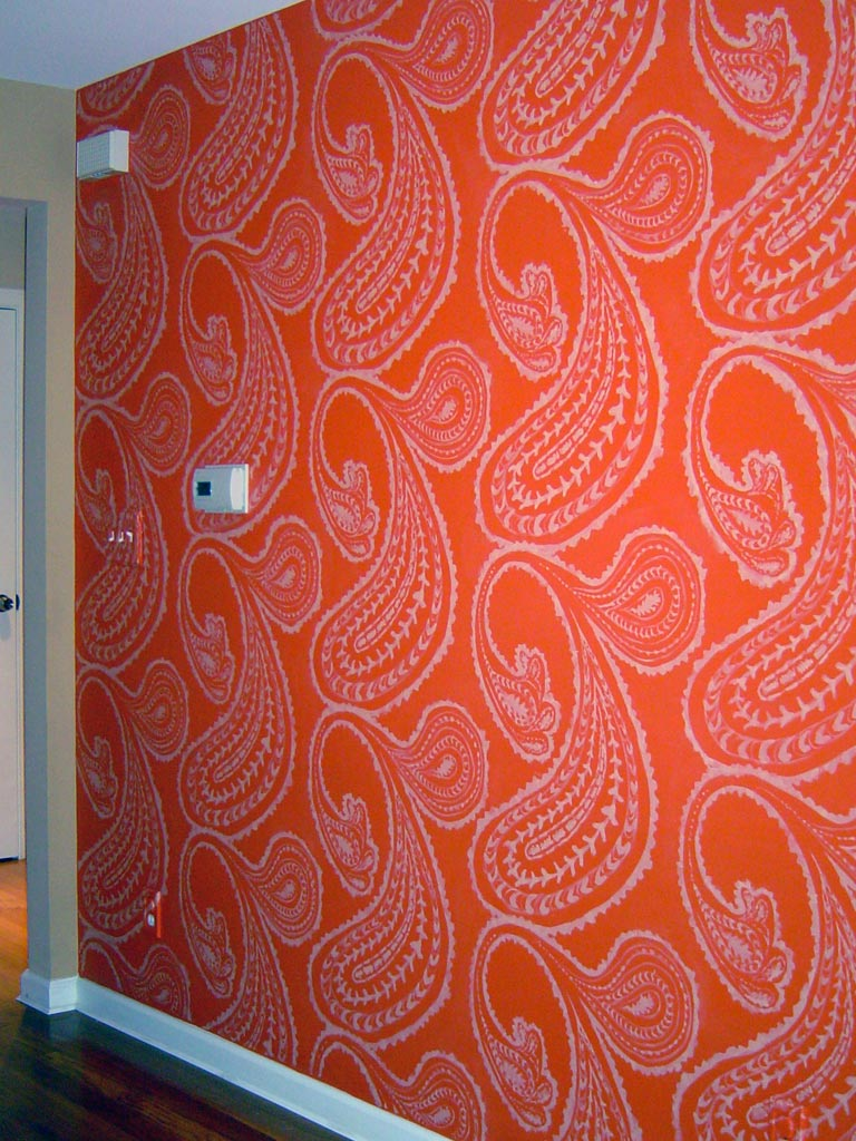Large-scale paisley pattern custom stenciled in dining room.