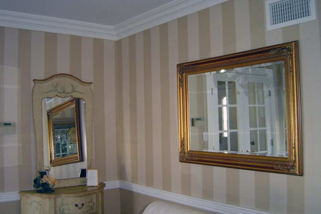 Shadow stripe painted above chair rail in Dining room.
