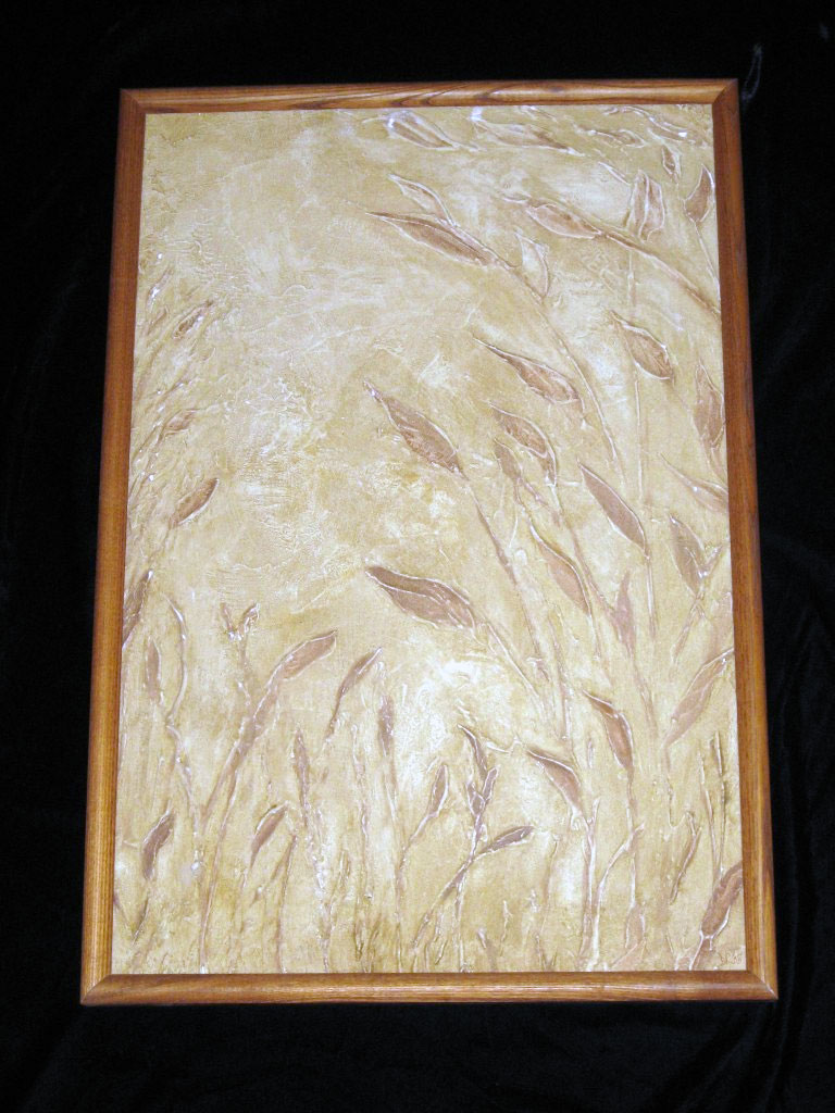 Texture medium used to paint dimensional image of grasses, finished with colored glazes, and framed.
