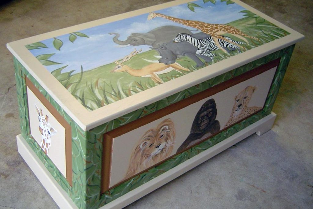 Toybox painted in safari-themed decor.