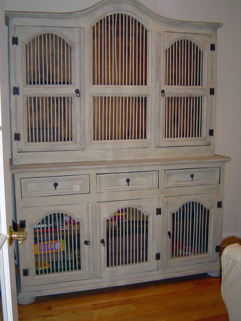 Large wall unit painted with distressed finish.