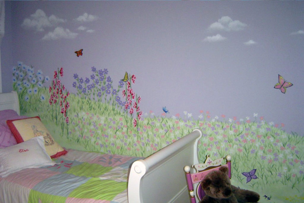 Mural with wildflowers and butterflies.