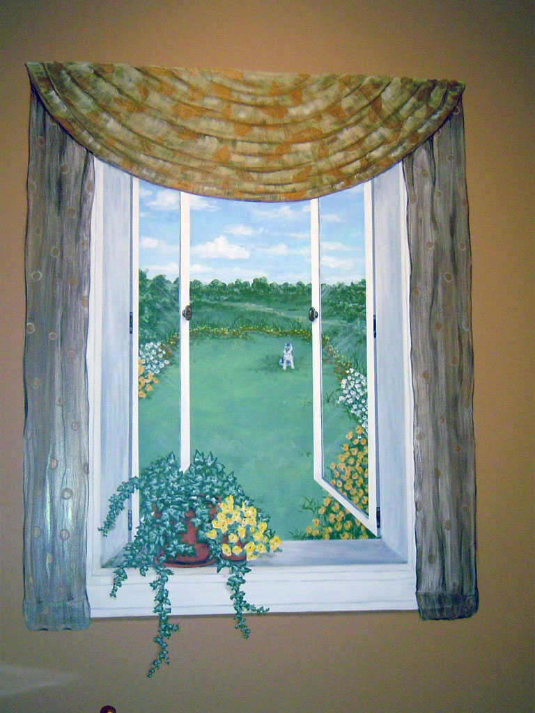 Trompe l'oeil window painted in Powder Room.