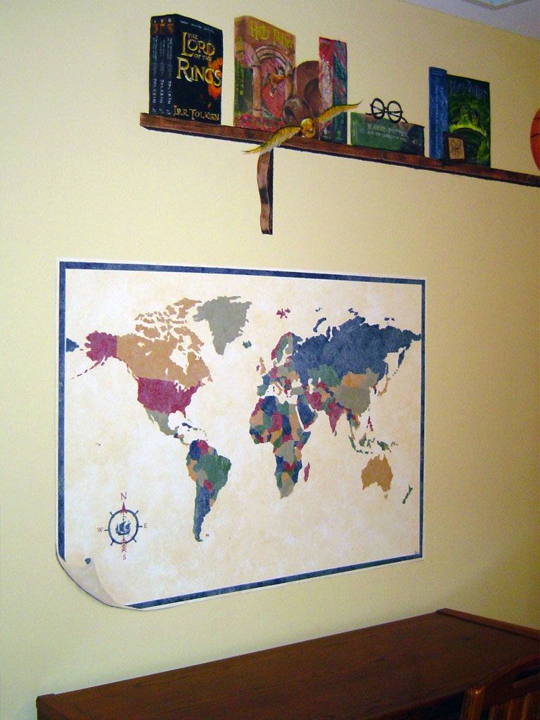World map and painted shelf detail from Bedroom mural.