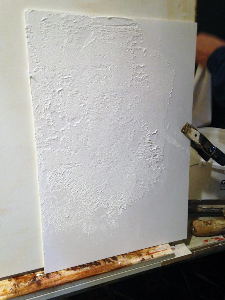 My sample board as I experimented with Proceed's rough plaster medium.