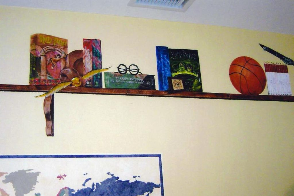 Hand painted shelf with painted objects