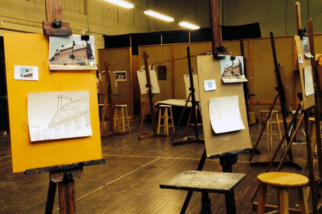 Step 5: We set up the studio so that every artist gets to see the complete image (a picture of the Westfield Y), and a picture of the small section that they are painting.