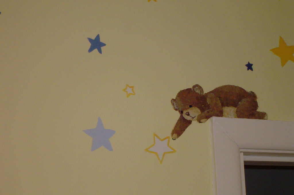 Painted teddy bear and stars