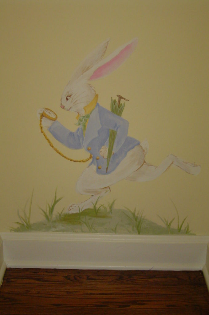 White Rabbit detail from Alice in Wonderland mural