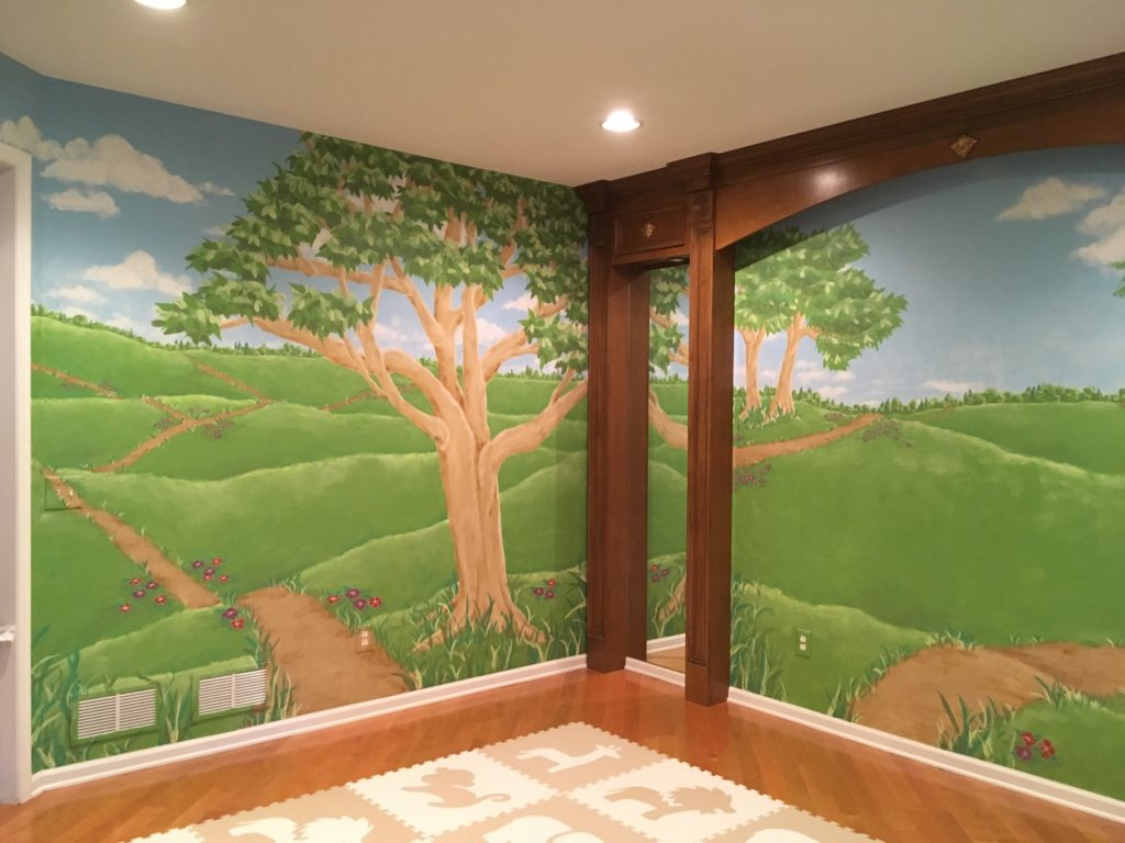 Playroom landscape wall mural