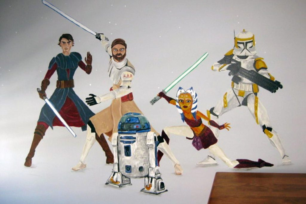 Clone Wars characters painted on opposite wall.