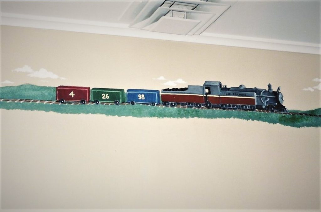 Painted train theme border