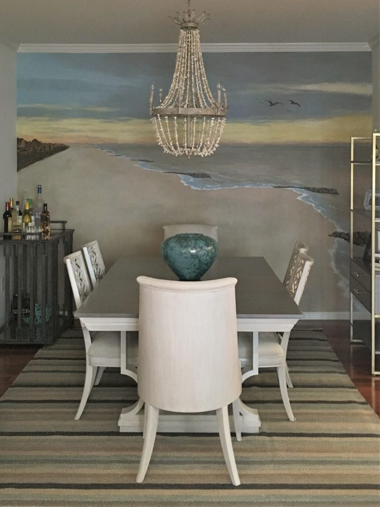 Beach sunrise wall mural painted in Dining Room