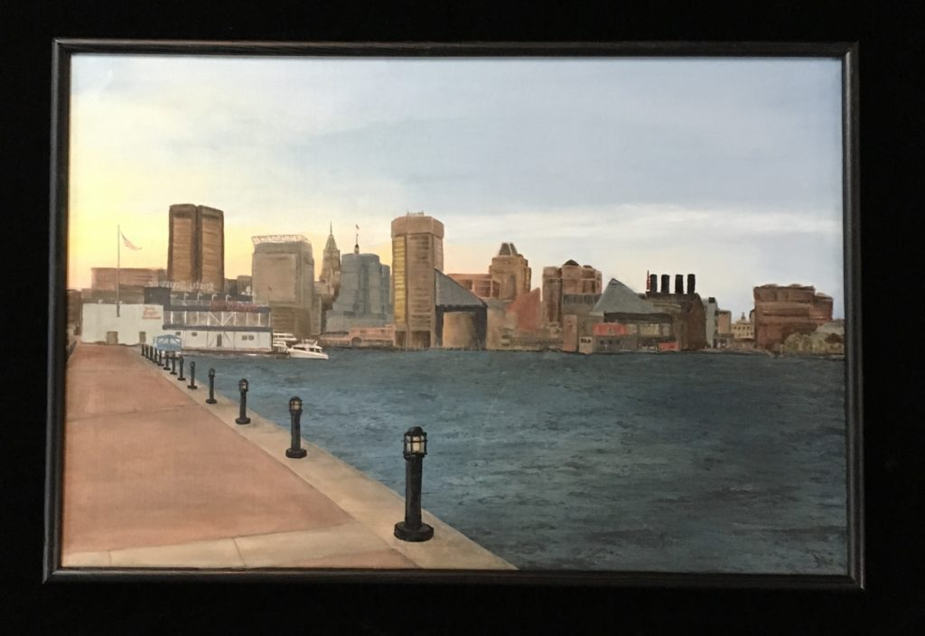 Baltimore inner harbor painting 24 x 36 on canvas.