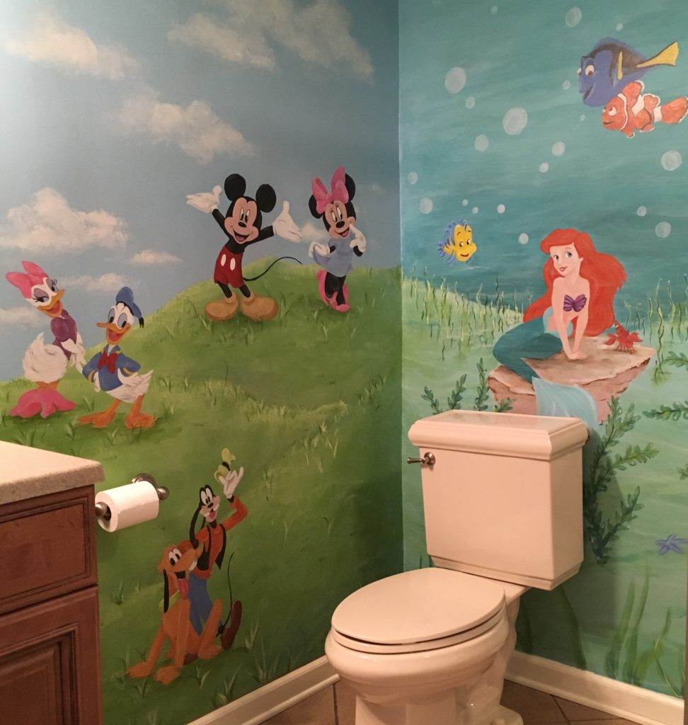 Bathroom mural with movie characters