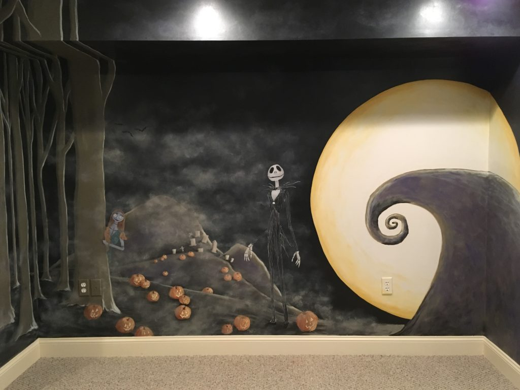 Nightmare before Christmas themed mural