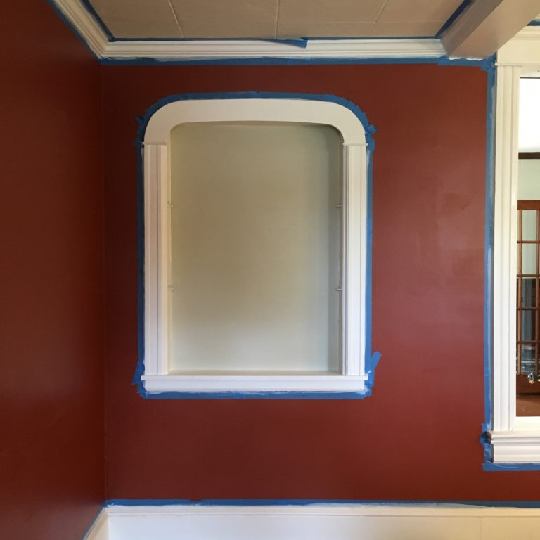 Mahogany faux finish niche primed