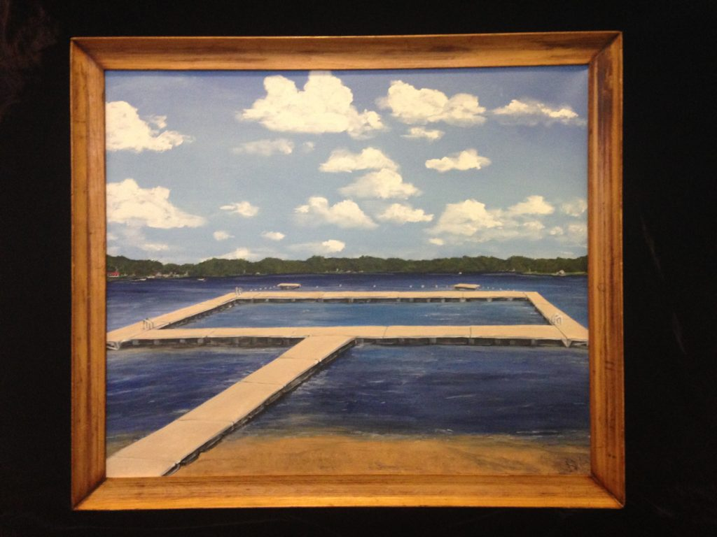 Painting commission of a Massachusetts lake. 22x26 acrylic on canvas in reclaimed rustic frame