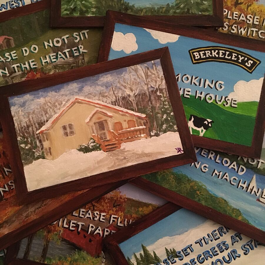 Set of small paintings of Vermont themes with instructions for Airbnb guests. Acrylic on 4 x 6 x 1/8 basswood.