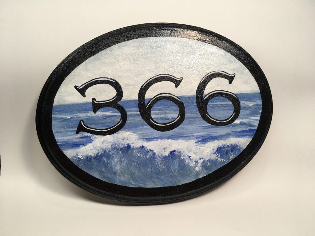 Hand painted address plaque with ocean scene. Acrylic on 8 x 12 wood