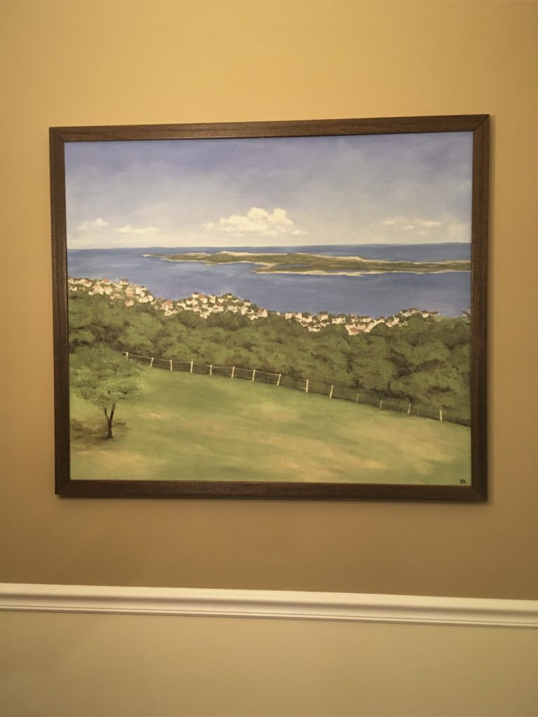 Framed painting of landscape and ocean view, 34 x 40 latex and acrylic on canvas.