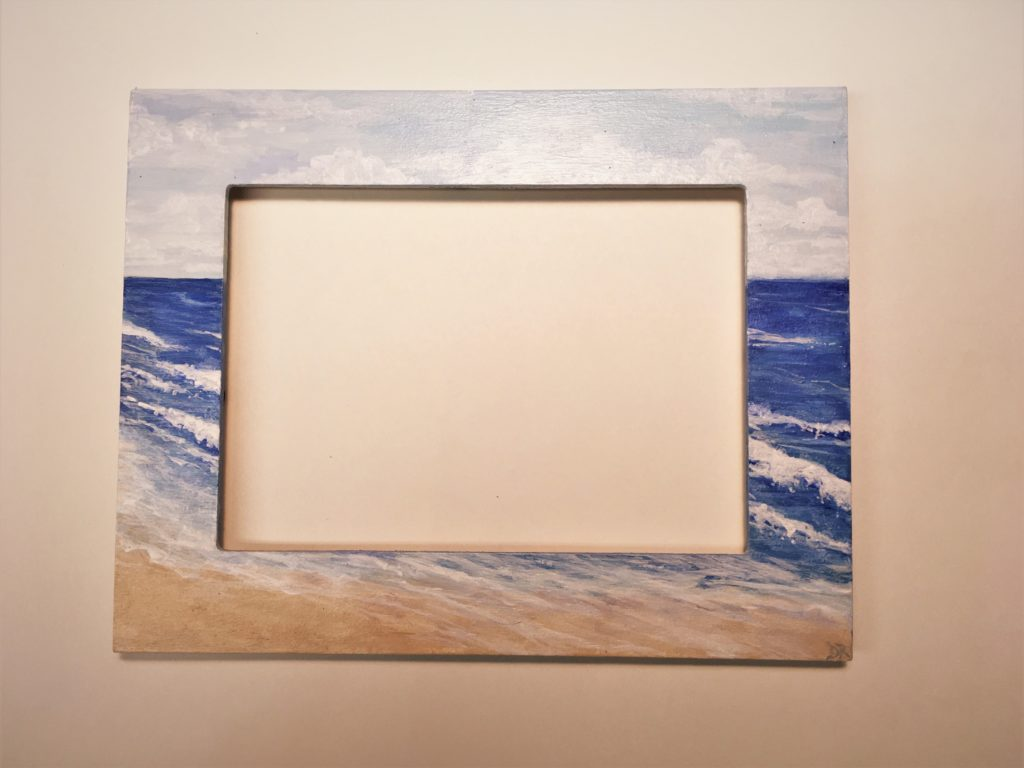 "Oceanscape painted on 8"" x 10"" wood picture frame"