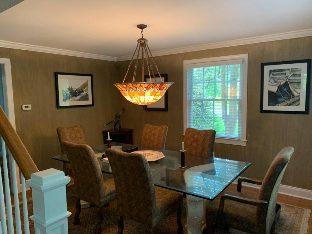 Dining Room painted with grey-brown striae glaze finish.