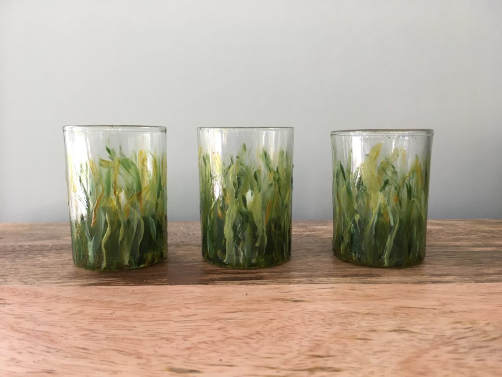 Votive glasses painted in grass motif with translucent ceramics paint.
