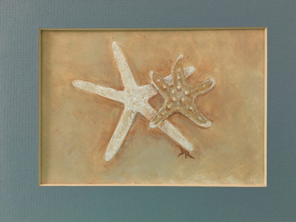 "Starfish painting, 5""x 7"" acrylic on bristol vellum."
