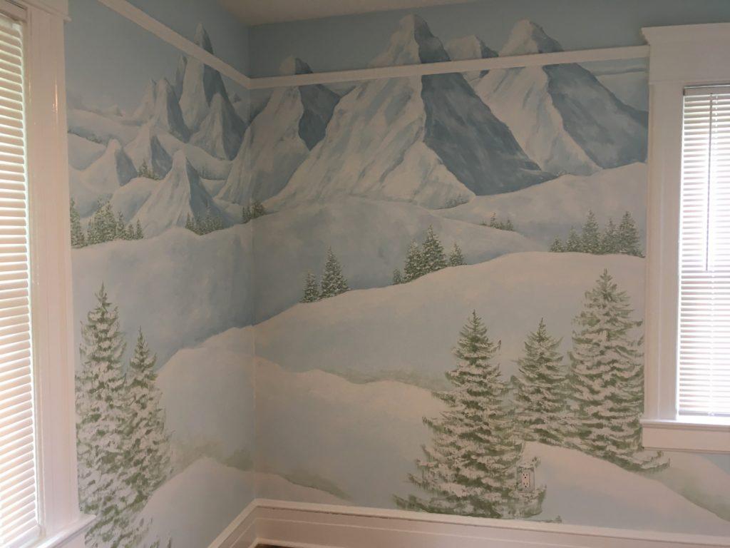 wintery landscape mural