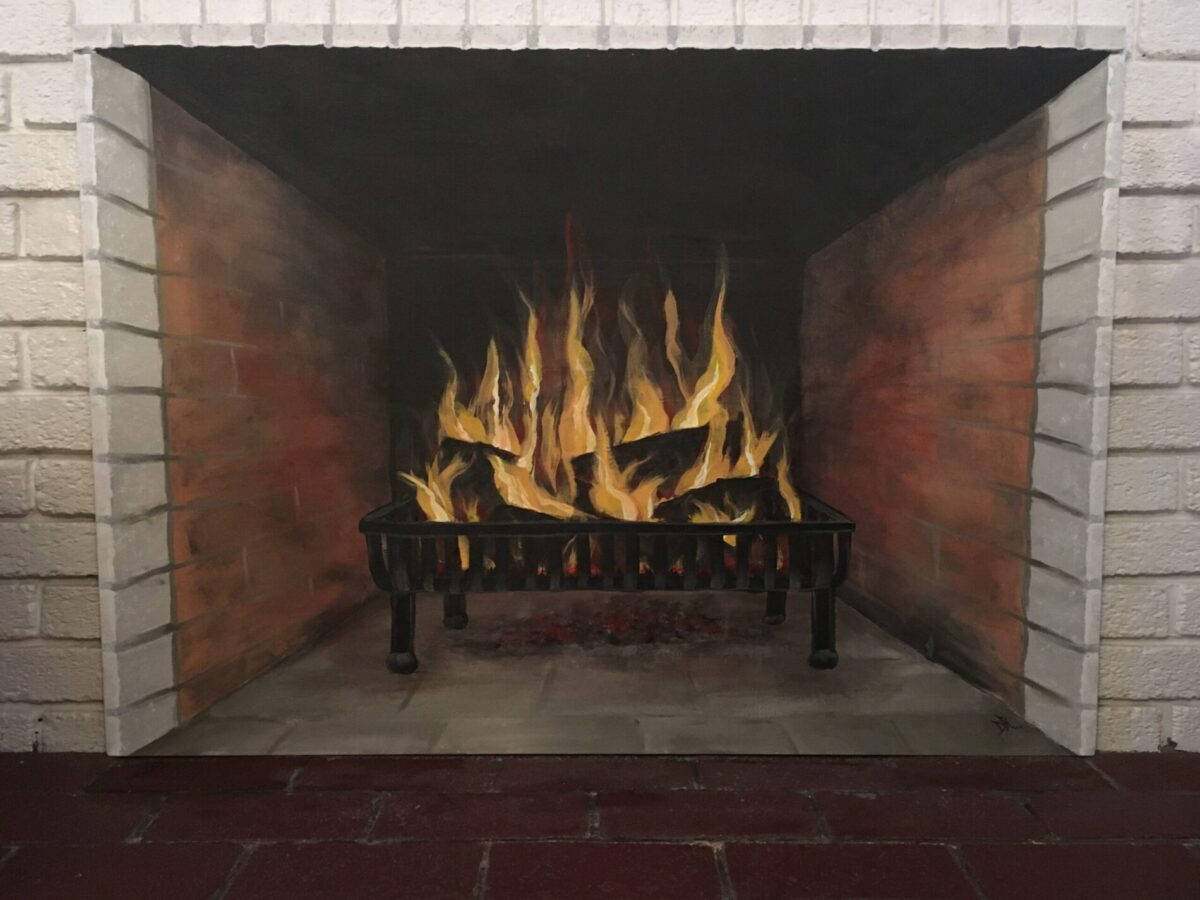 Fireplace with fire, acrylic and latex on 30x42 canvas to cover firebox opening when not in use.