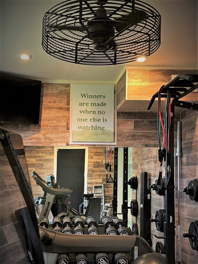 Detail section of home gym mural