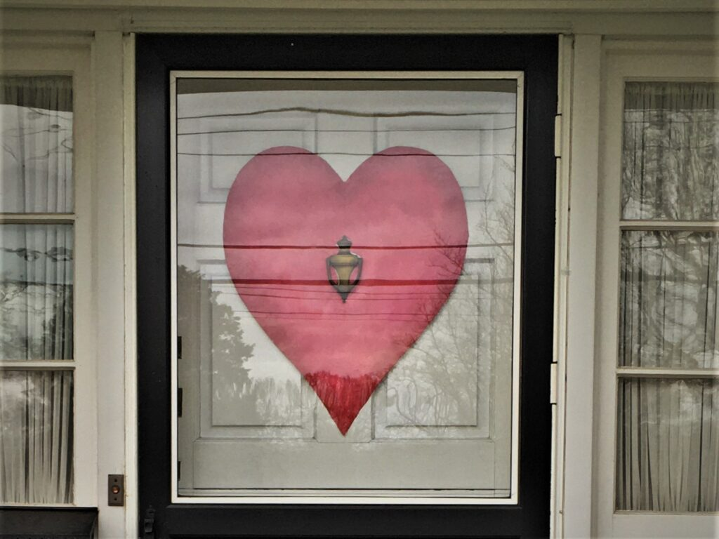 Red heart door decoration, bristol vellum with crinkle tissue texture and a range of red acrylics paints.