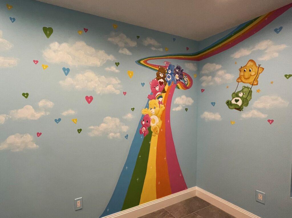 Care Bears theme mural for nursery.