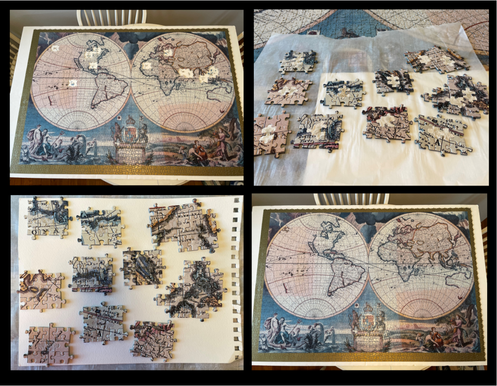 Replicated missing puzzle pieces of 4'x5' world map puzzle.