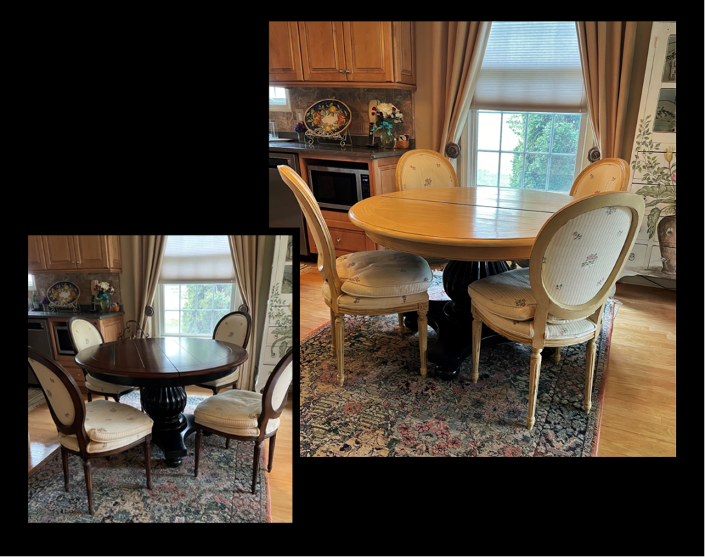 Refinished and lightened up kitchen dining set with cream paint and caramel colored glaze. Before and after.