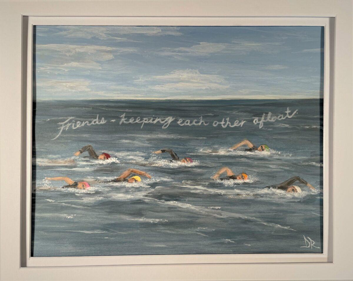 Ocean Swim Friends painting. 8 x 10 acrylic on vellum.
