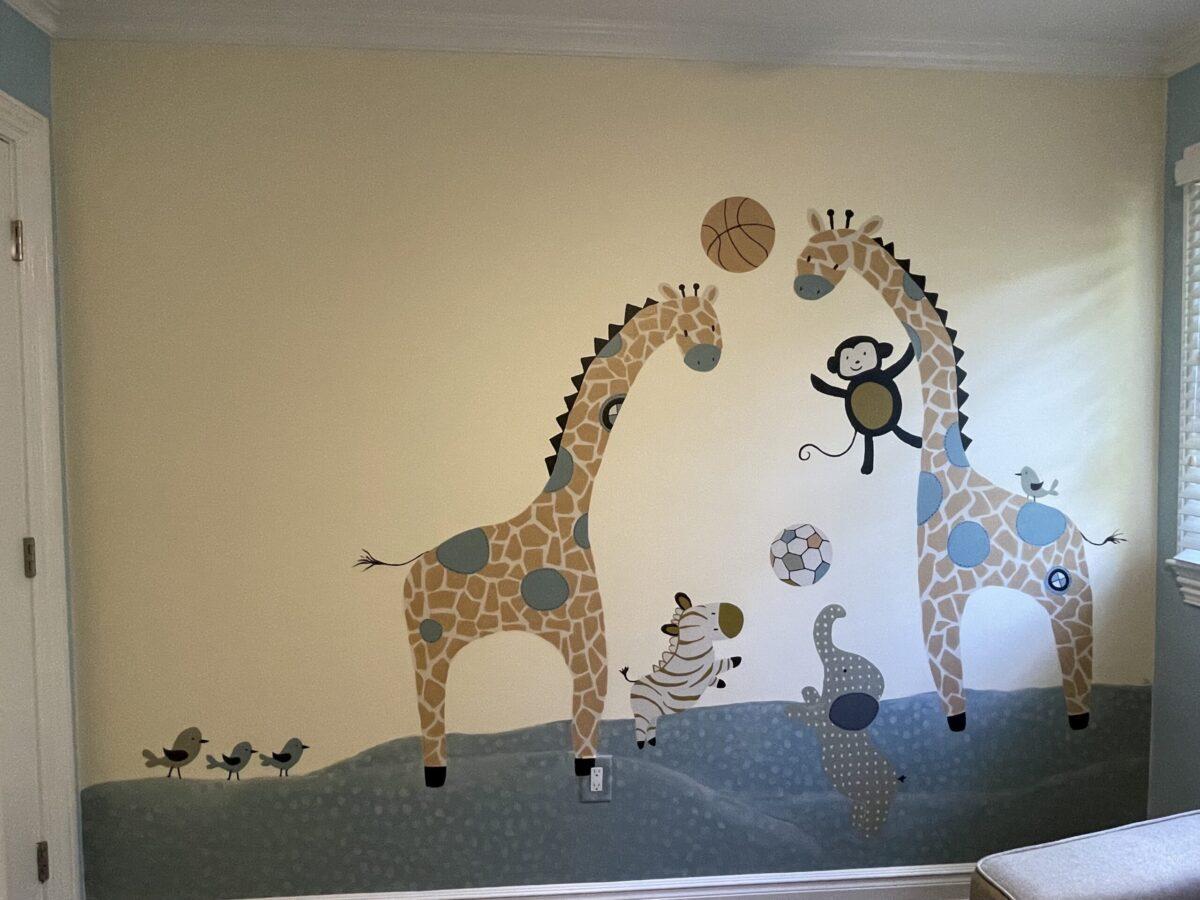 Playful nursery mural inspired by rug design.